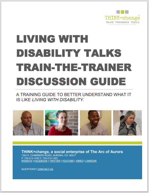 Cover page of the living with disability TALKS discussion guide