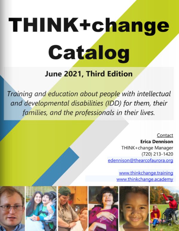 THINK+change catalog cover page that has photos of people with disabilities.