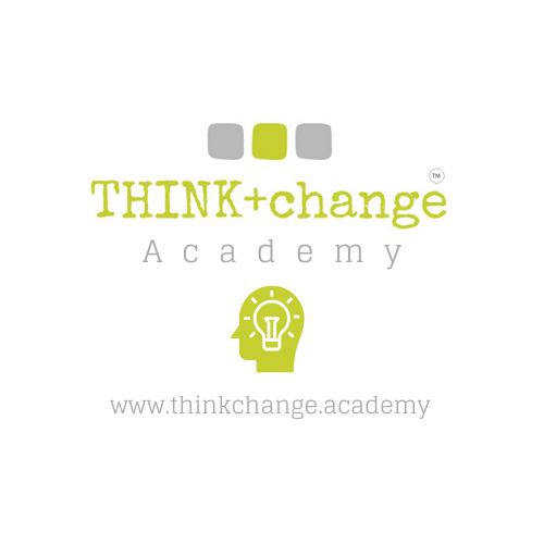 THINK+change Academy logo with a clip art image of a head with a lightbulb inside.