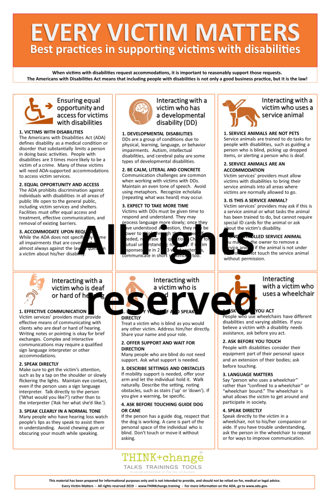 Pictured is an image of the Every Victim Matters poster. Information listed includes ADA, and interacting with someone who uses a service animal, wheelchair, blind, and deaf
